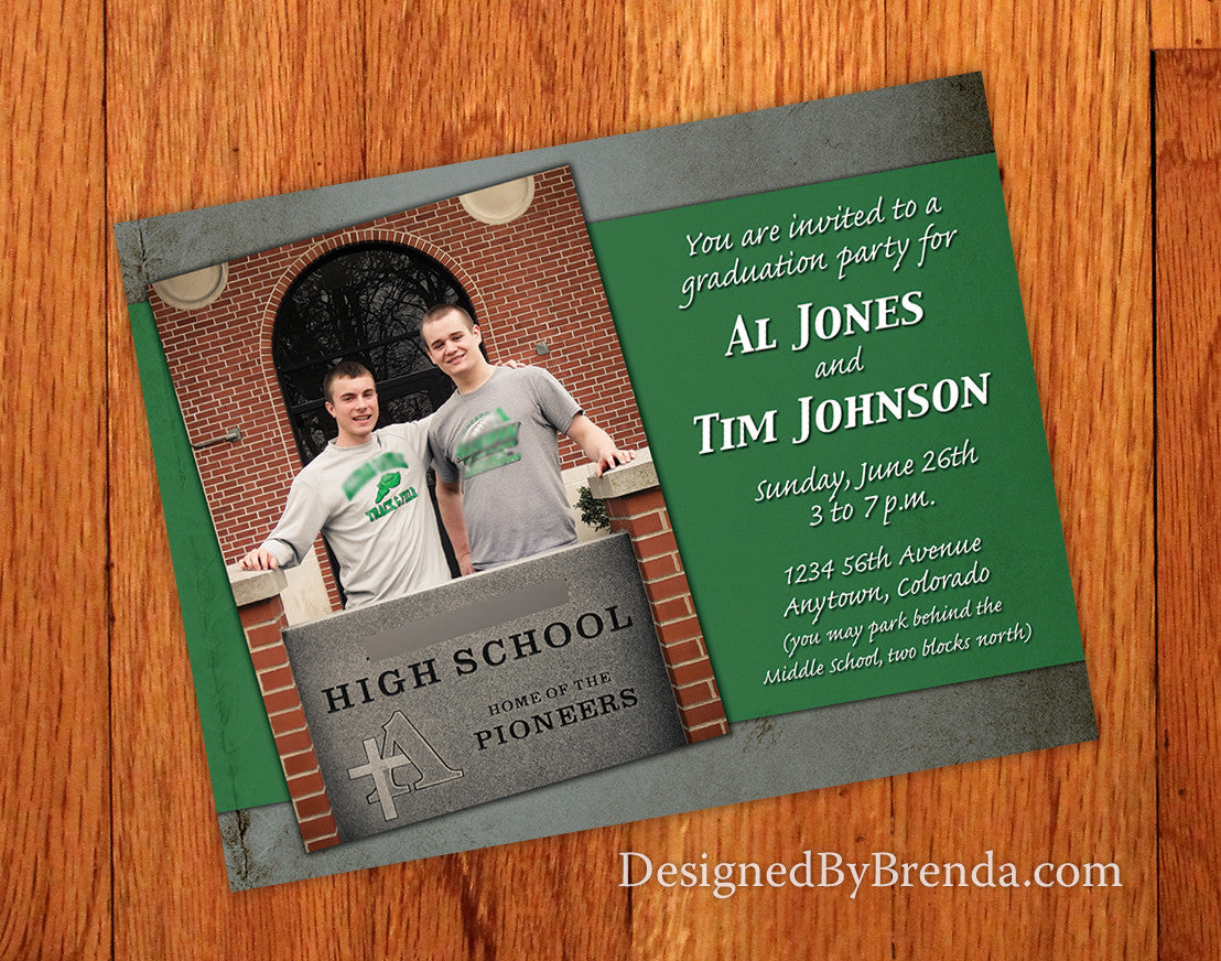 Graduation Announcement Invitation with Photo for Two Person Party - Rustic Grunge Style