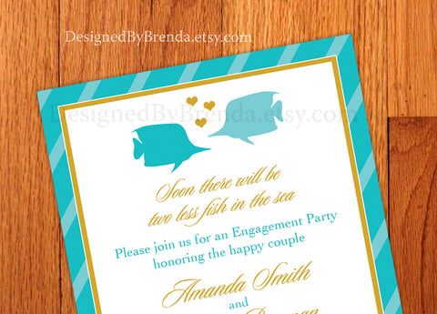 Two Less Fish in the Sea Engagement Party or Bridal Shower Invitations