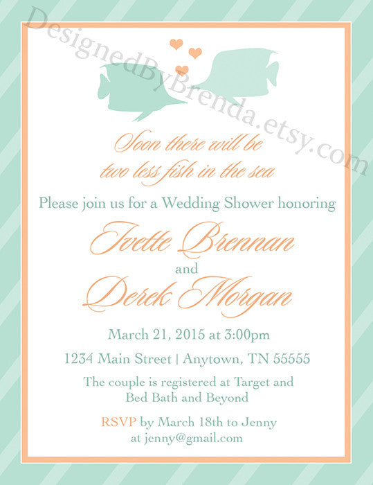 938ed1abb2f Two Less Fish in the Sea Engagement Party or Bridal Shower Invitations