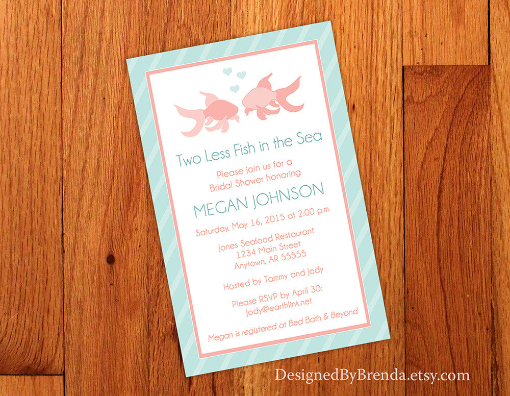 e4f12336687 Large Bridal Shower Invitation - Two Less Fish in the Sea - Coral   Teal  with