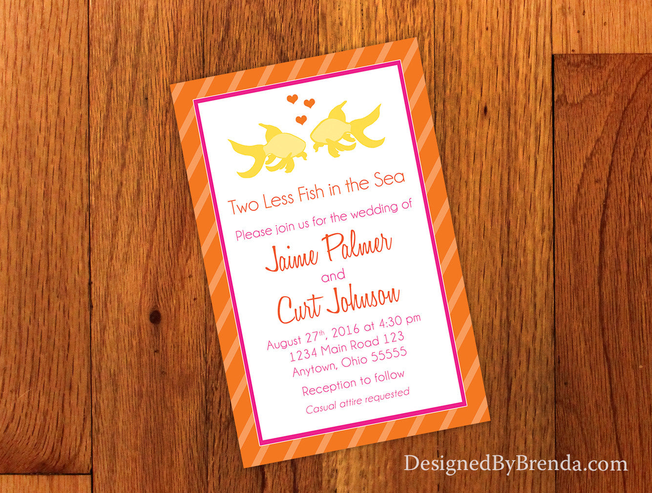 Two Less Fish in the Sea Wedding Invitation - Pink Orange Yellow ...