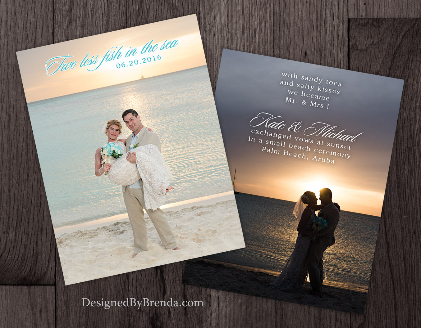 Two Less Fish in the Sea Wedding Announcement with Photos - Sandy Toes & Salty Kisses