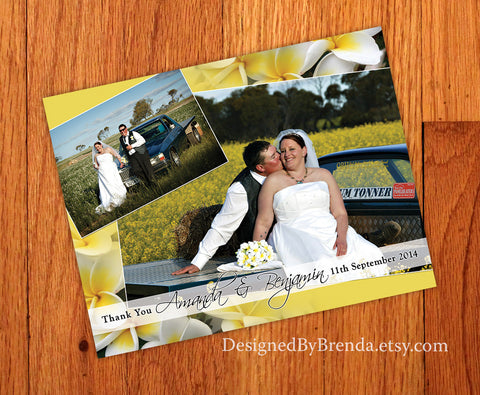Floral Background Wedding Thank You Postcard