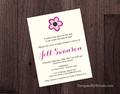 Baby Shower Invitation with Pink Flower - Simple Layout