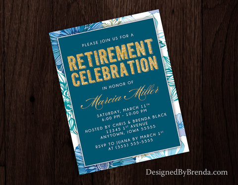 Floral Retirement Party Invitations - Gold & Teal Blue - Feminine Look