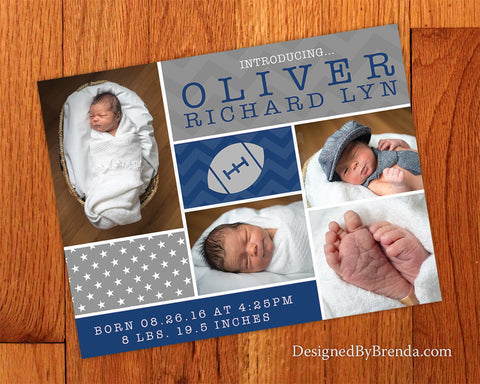 Football Themed Birth Announcement with Photos - Navy and Gray Chevron & Stars