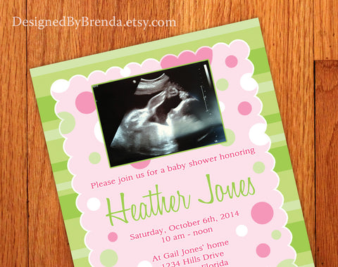 Baby Girl Shower Invitation or Gender Announcement Card - with ultrasound image - Pink & Green