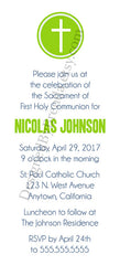 Green and Blue Baptism, First Communion or Confirmation Invitation With Religious Cross