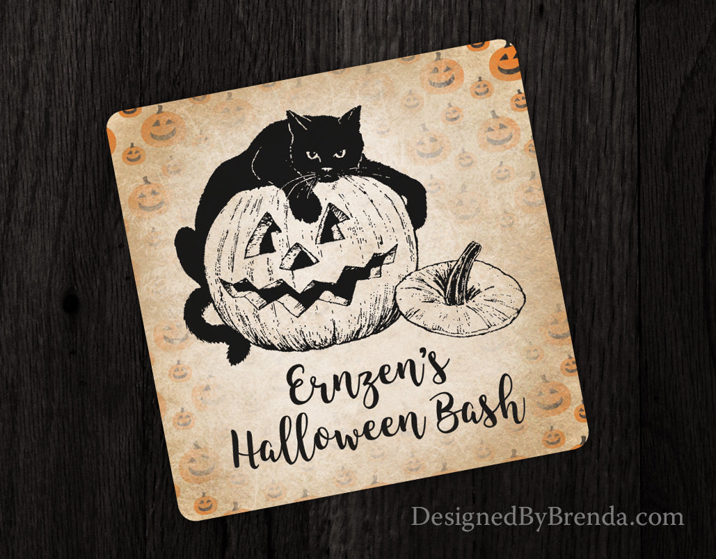 Vintage Style Halloween Paper Coasters - Unique Favor with Black Cat and Pumpkin
