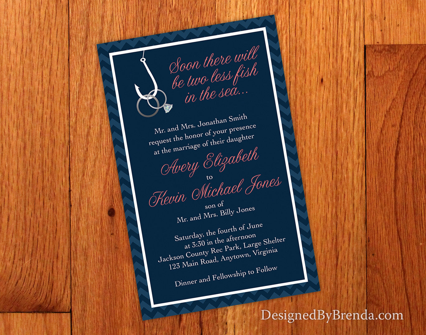 two less fish in the sea wedding invitation with rings on hook navy and coral fish hook wedding ring Two Less Fish in the Sea Wedding Invitation with Rings on Hook Navy and Coral