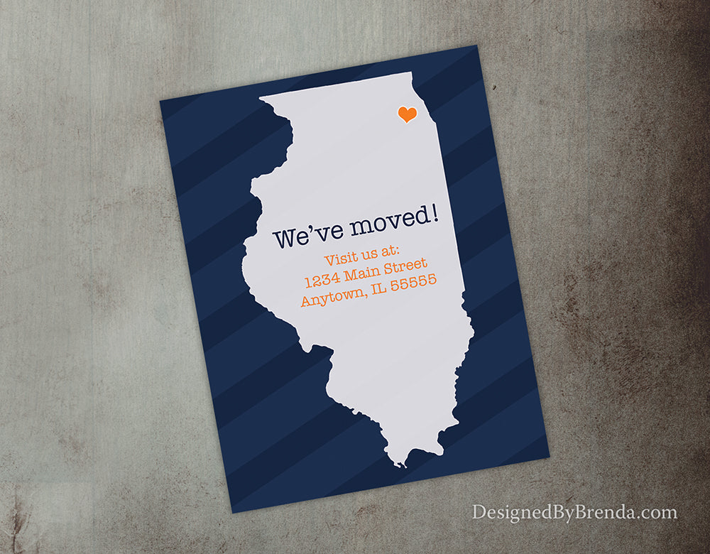 Navy Blue and Orange Moving Card or Change of Address Postcard with State Outline - Shown with Illinois