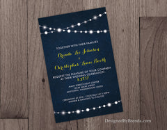 Wedding Invitation with Strings of Lights on Dark Blue Starry Sky Background