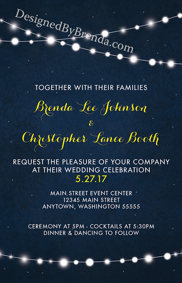 Dark Blue Yellow Wedding Invitation String Of Lights On
