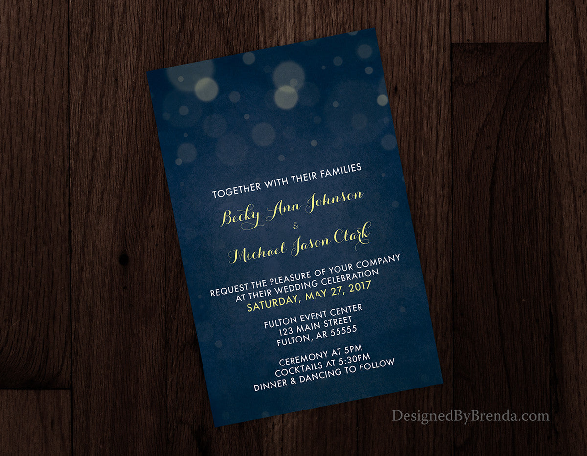 Navy Blue Abstract Wedding Invitations With Bokeh Twinkling Lights Romantic Feel