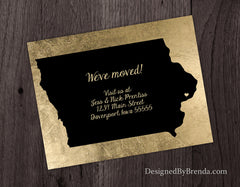 Black and Gold Change of Address Postcard with State Outline - Shown with Iowa
