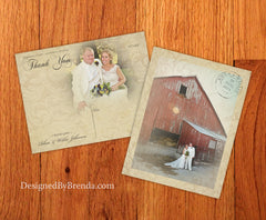 Vintage Lace Overlay Wedding Thank You Postcards