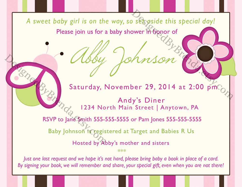 Baby Girl Shower Invitation with Ladybug and Flower - Pink, Green ...