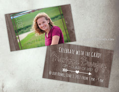 Mini Graduation Party Invitations with Photo on Barn Wood - Pocket Sized for Classmates