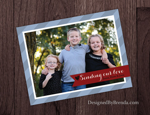 Sending Our Love Valentine's Day Card with Photo - Red, Black & Grey