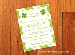 Lucky in Love Bridal Shower Invitation with Green and White Striped Background