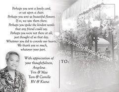 Memorial Thank You Card with Photo and Poem