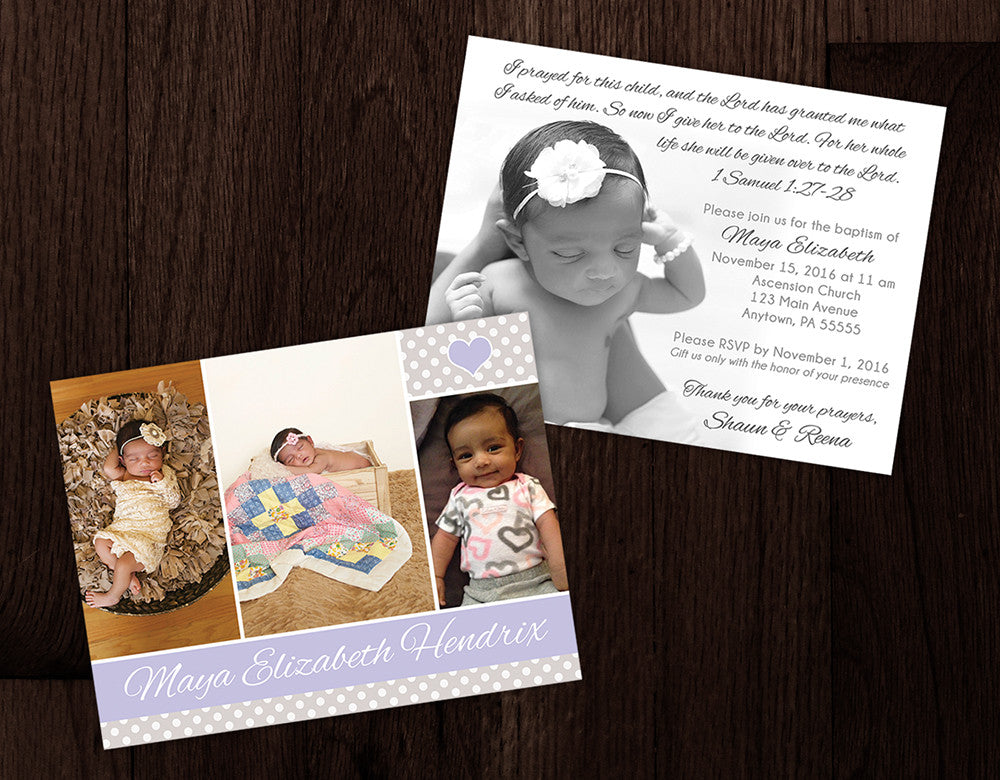 Baptism Invitation with Photos on Both Sides - Purple & Gray
