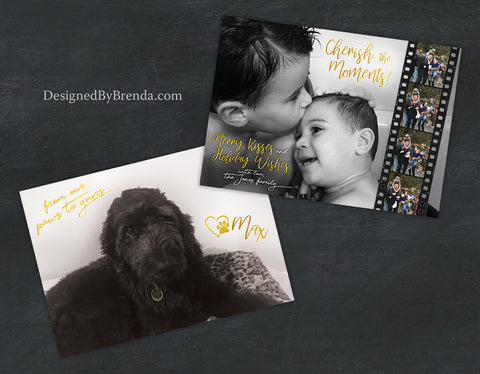 Cherish the Moments Holiday Photo Card - Merry Kisses and Holiday Wishes