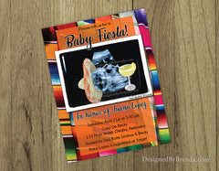 Mexican Fiesta Themed Baby Shower Invitation with Ultrasound Image