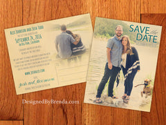 Vintage Style Save the Date Postcard with Modern Feel - Double Sided with Photos