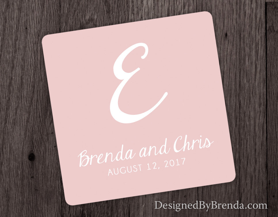 Wedding Favor Coasters with Names and Wedding Date - Any Colors