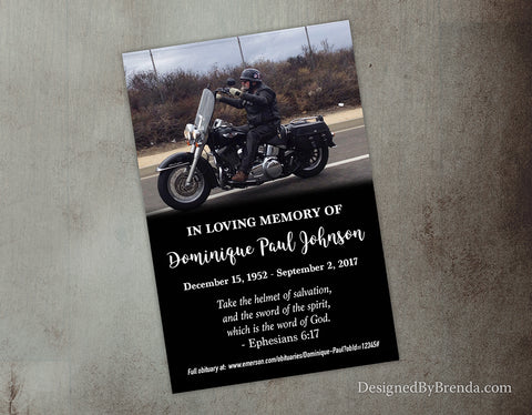 Black Memorial Card with Photo - Double Sided, Masculine Feel