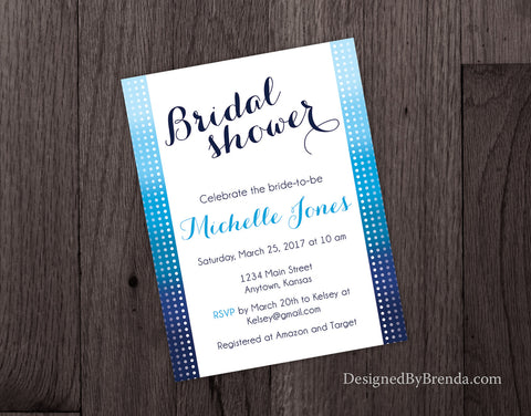 Blue Ombre Wedding Shower Invitation - Fun, Modern Bridal Shower Invite