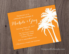 Tropical Palm Tree Wedding Invitations - Orange can be any color