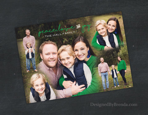 Peace, Love and Joy Holiday Card with Custom Blended Photo Collage