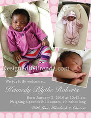 Pink and Grey Birth Announcement with Custom Photo Collage - Fun, Girly Look