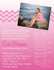 Pink Chevron and Ombre Photo Graduation Announcement Postcards - Any colors