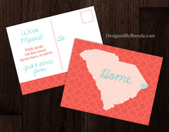 Change of Address Postcards with State - Coral & Teal Moving Cards