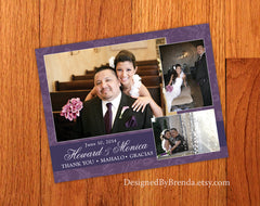Floral Wedding Thank You Postcard - Trilingual Message