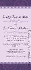 Shades of Purple Wedding Invitation with Fun, Casual Look - Long & Skinny