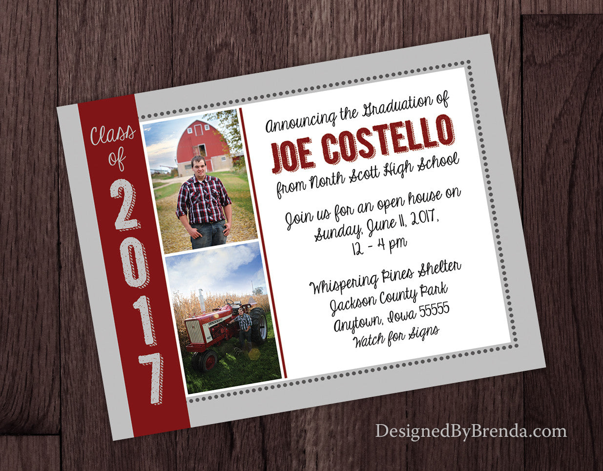 Graduation Announcement Postcard with Two Photos - School Colors Grey & Red