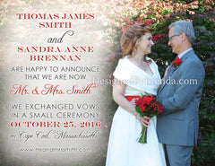 Double Sided Wedding Announcement or Elopement Card with Photos - Red & Grey