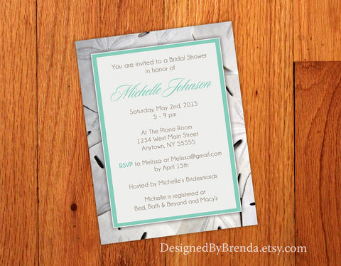 Sand Dollar Bridal or Baby Shower Invitation