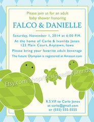Sea Turtle Baby Shower Invitation - Blue and Pink