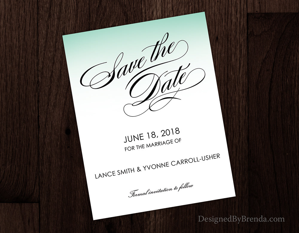 Formal Save the Date with Minimalist Look - Green, Black & White can be any color