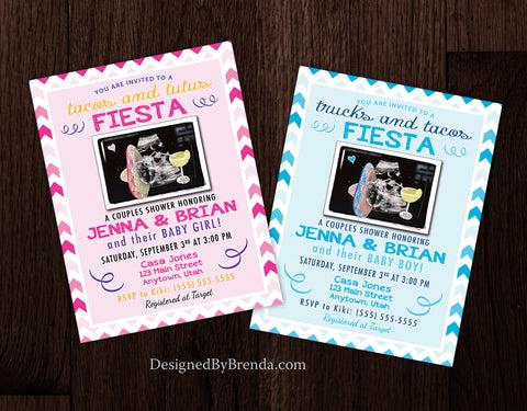 Pink or Blue Baby Shower Invitations with Sonogram Ultrasound - Colorful Fiesta