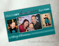 Christmas Card with 3 Large Photos - Sparkly Pink and Teal - Peace Joy Family Love Hope Friends