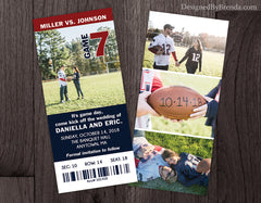 Ticket Save the Date Card with Photos - Double Sided