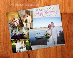 Wedding Thank You Postcard with Photo Collage on Grey Swirled Background