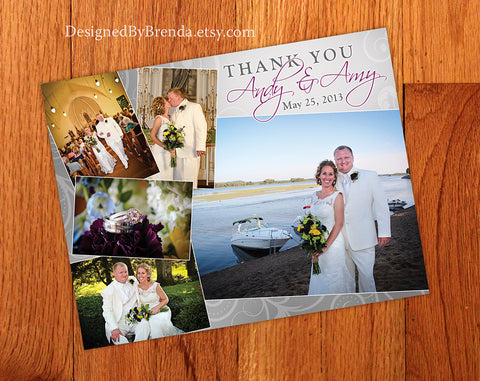 Tilted Photo Wedding Thank You Postcard - Swirl background