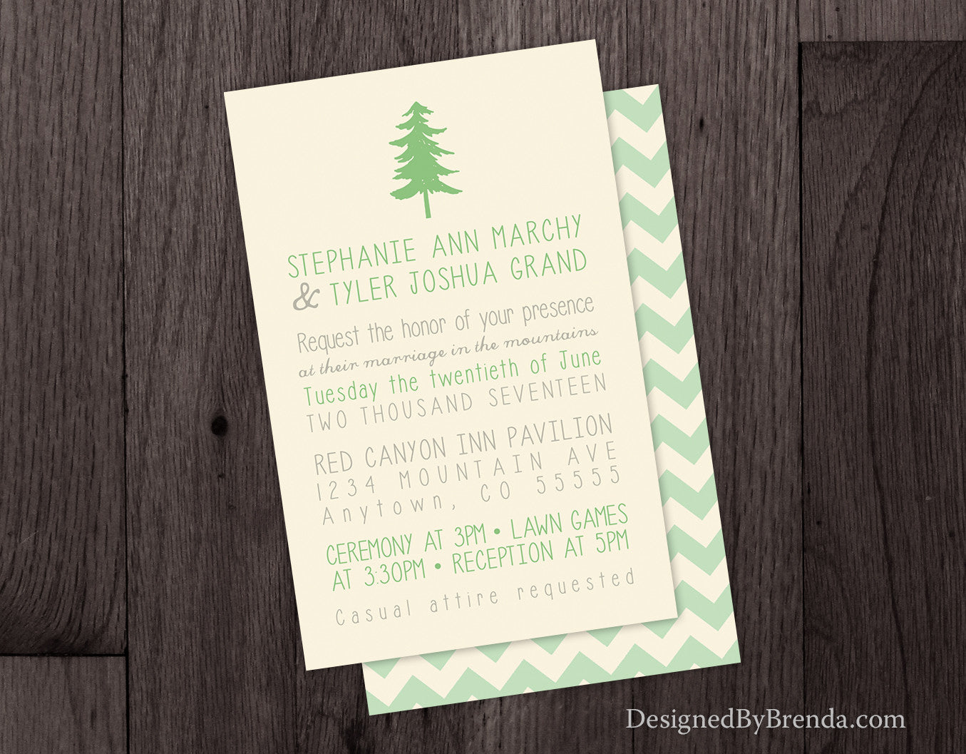 Tree Wedding Invitation with Chevron Back - Nature & Outdoors ...